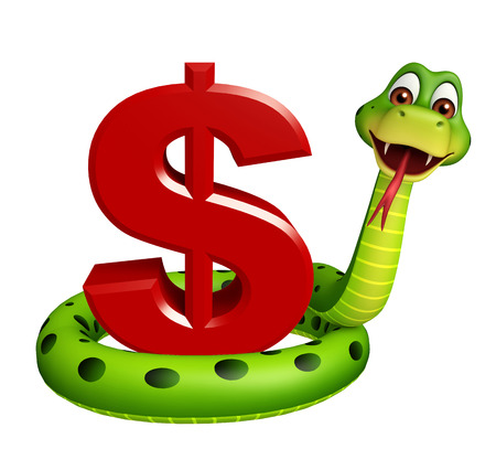3d snake: 3d rendered illustration of Snake cartoon character with dollar sign Stock Photo