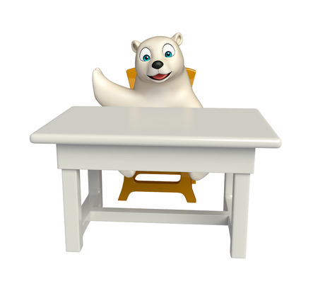 hunny: 3d rendered illustration of Polar bear cartoon character with table and chair