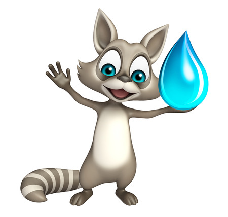 carnivora: 3d rendered illustration of Raccoon cartoon character with water drop Stock Photo