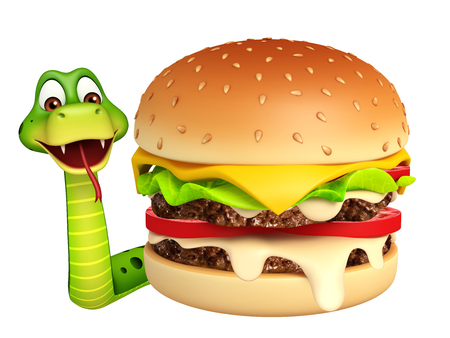 3d snake: 3d rendered illustration of Snake cartoon character with burger Stock Photo