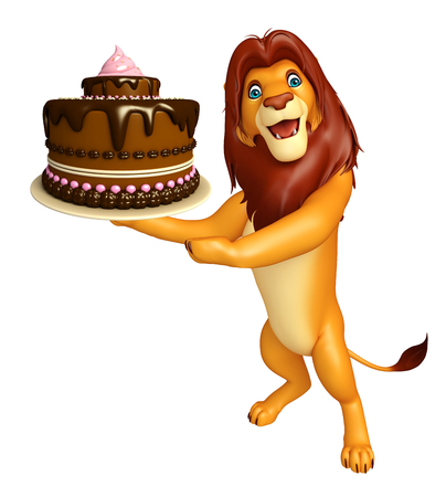3d rendered illustration of Lion cartoon character with cake