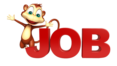 job hunting: 3d rendered illustration of Monkey cartoon character with jobs sign