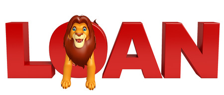 3d lion: 3d rendered illustration of Lion cartoon character with loan sign Stock Photo