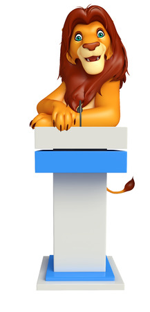 3d lion: 3d rendered illustration of Lion cartoon character with speech stage