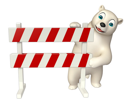 hunny: 3d rendered illustration of Polar bear cartoon character with baracade Stock Photo