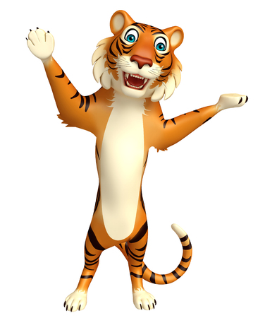 cartoon park: 3d rendered illustration of pointing Tiger cartoon character