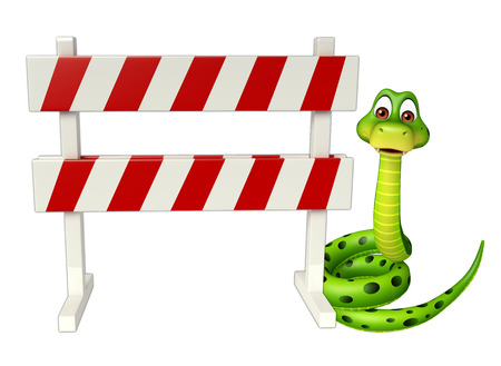 constuction: 3d rendered illustration of Snake cartoon character with baracade