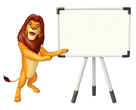 display board: 3d rendered illustration of Lion cartoon character with display board