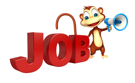 jobs: 3d rendered illustration of Monkey cartoon character with jobs sign and loud speaker