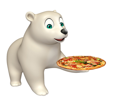 3d pizza: 3d rendered illustration of Polar bear cartoon character with pizza Stock Photo
