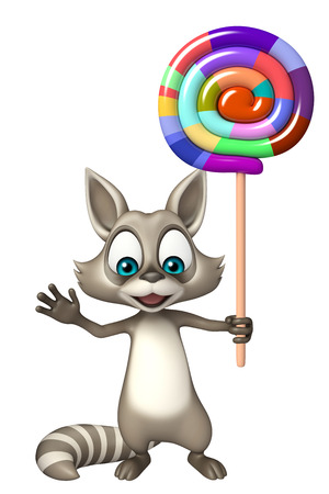 lollypop: 3d rendered illustration of Raccoon cartoon character with lollypop Stock Photo