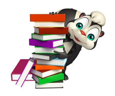 mofeta: 3d rindió la ilustración de personaje de dibujos animados de la mofeta con el libro Foto de archivo