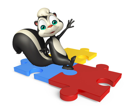 jig saw puzzle: 3d rendered illustration of Skunk cartoon character with puzzle Stock Photo