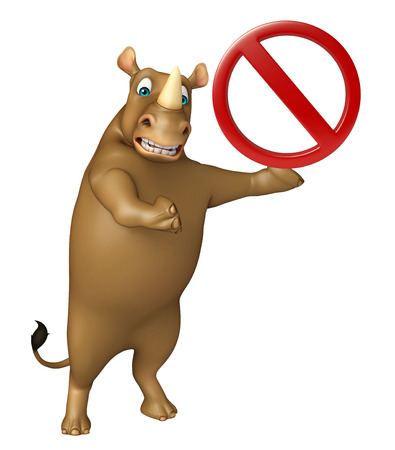 zoo traffic: 3d rendered illustration of Rhino cartoon character stop sign