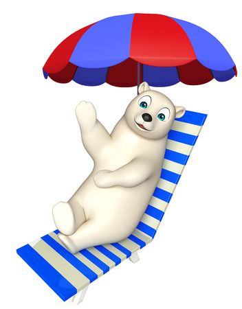 hunny: 3d rendered illustration of Polar bear cartoon character with beach chair