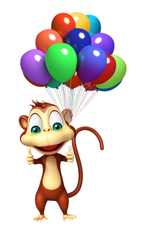 baloon: 3d rendered illustration of Monkey cartoon character with baloon