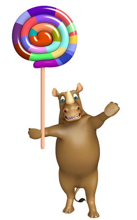 lollypop: 3d rendered illustration of Rhino cartoon character with lollypop
