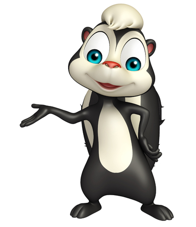 skunk: 3d rendered illustration of funny Skunk cartoon character