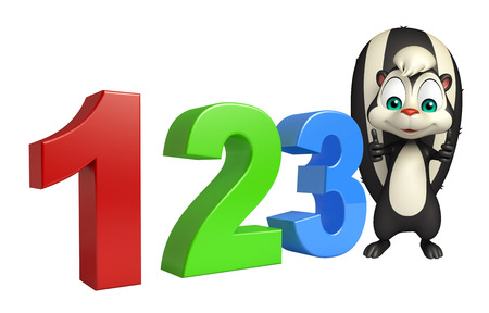 kiddie: 3d rendered illustration of Skunk cartoon character with 123 sign