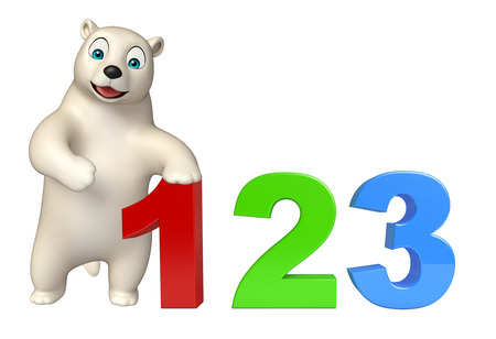 kiddie: 3d rendered illustration of Polar bear cartoon character with 123 sign Stock Photo