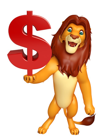 3d lion: 3d rendered illustration of Lion cartoon character with dollar sign Stock Photo