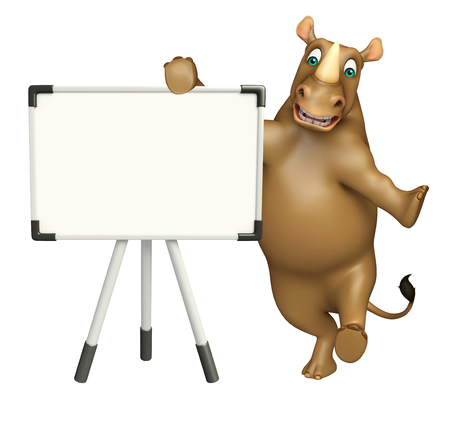 display board: 3d rendered illustration of Rhino cartoon character with display board Stock Photo