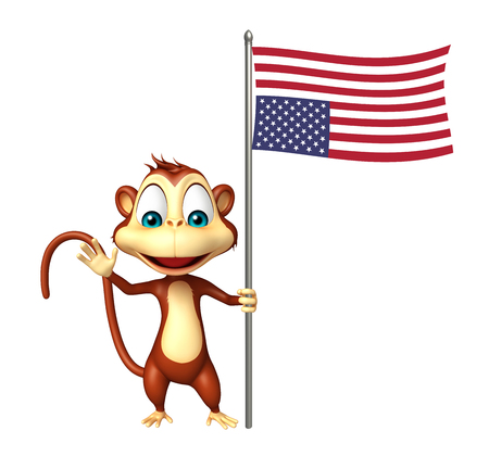 flying monkey: 3d rendered illustration of Monkey cartoon character with flag