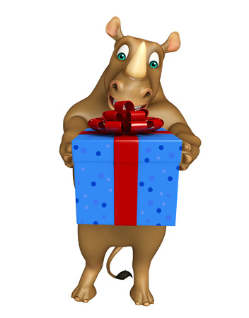 giftbox: 3d rendered illustration of Rhino cartoon character with giftbox Stock Photo