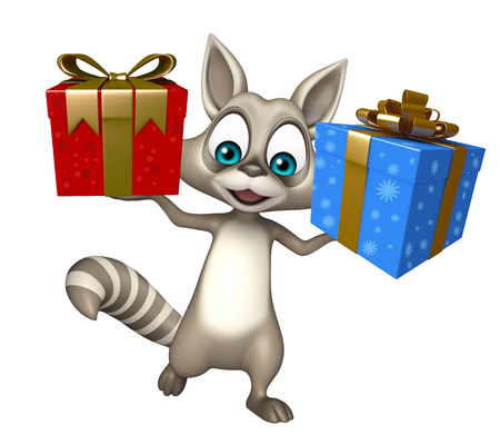 giftbox: 3d rendered illustration of Raccoon cartoon character with giftbox