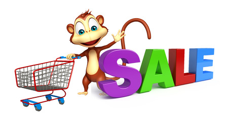 trolly: 3d rendered illustration of Monkey cartoon character  with trolly and sale sign