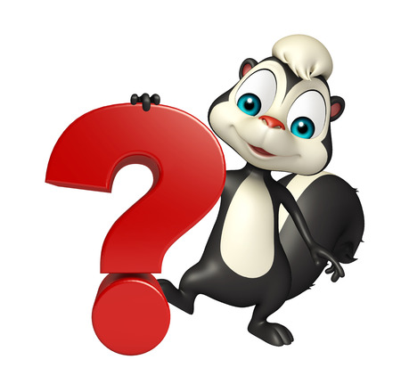 enigma: 3d rendered illustration of Skunk cartoon character with question sign Stock Photo