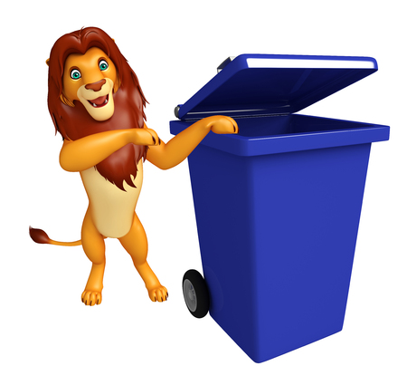 3d lion: 3d rendered illustration of Lion cartoon character with dustbin