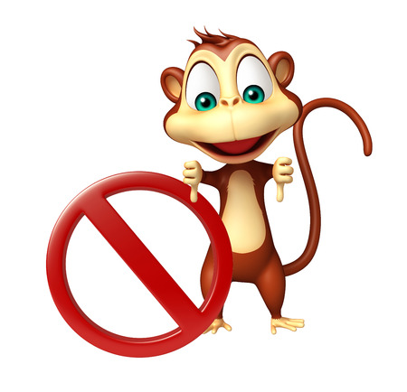 zoo traffic: 3d rendered illustration of Monkey cartoon character with stop sign