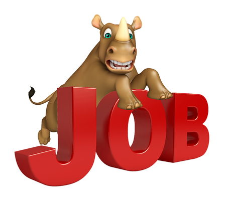 job hunting: 3d rendered illustration of Rhino cartoon character with job sign