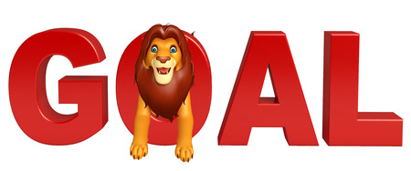 3d lion: 3d rendered illustration of Lion cartoon character with goal sign Stock Photo