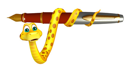 3d snake: 3d rendered illustration of Snake cartoon character with pen