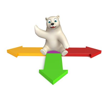 hunny: 3d rendered illustration of Polar bear cartoon character with arrow
