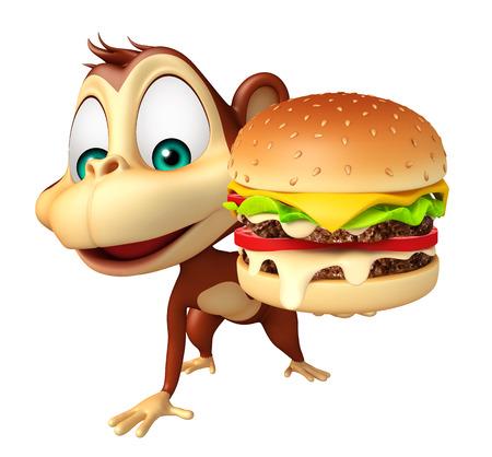 3d teruggegeven illustratie van Monkey stripfiguur met hamburger