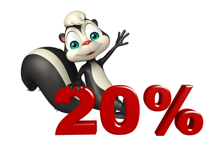 skunk: 3d rendered illustration of Skunk cartoon character with 20% sign Stock Photo