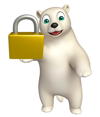 hunny: 3d rendered illustration of Polar bear cartoon character with lock