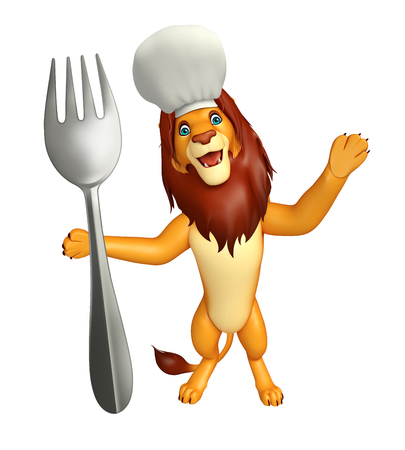 non uniform: 3d rendered illustration of Lion cartoon character with chef hat and spoon