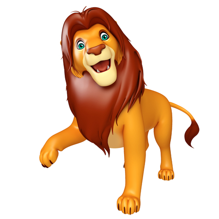 3d lion: 3d rendered illustration of walking  Lion cartoon character Stock Photo