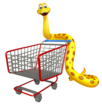 trolly: 3d rendered illustration of Snake cartoon character with trolly