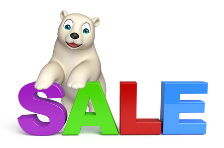 hunny: 3d rendered illustration of Polar bear cartoon character with sale sign Stock Photo