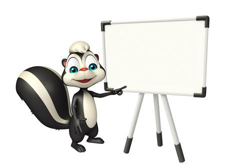 mofeta: 3d rindió la ilustración de personaje de dibujos animados de la mofeta con placa de la pantalla