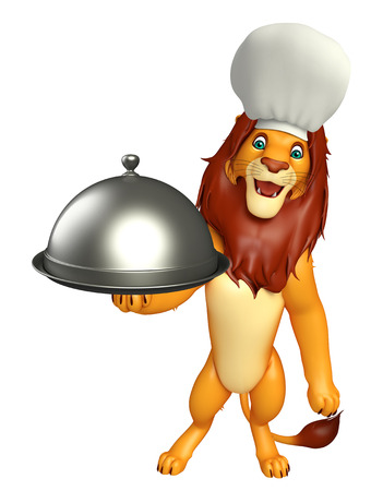 3d rendered illustration of Lion cartoon character with chef hat and cloche Stock Photo