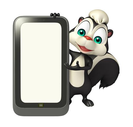skunk: 3d rendered illustration of Skunk cartoon character with mobile