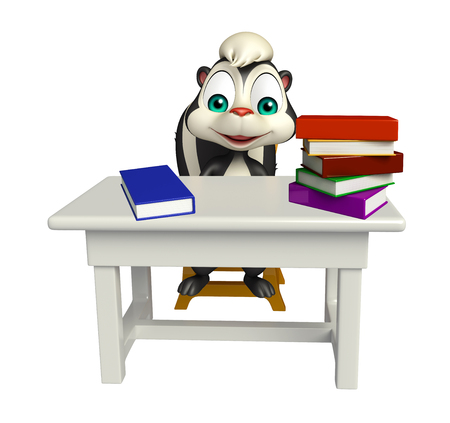 zorrillo: 3d rindió la ilustración de personaje de dibujos animados de la mofeta con mesa y silla; libro