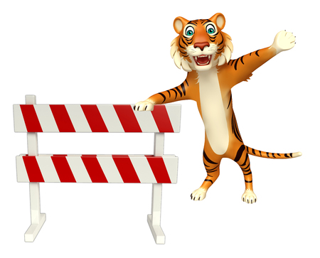 zoo traffic: 3d rendered illustration of Tiger cartoon character with baracade