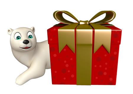 giftbox: 3d rendered illustration of Polar bear cartoon character with giftbox Stock Photo